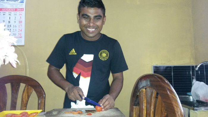 Abendessen Buddhika Prasanga zuhause